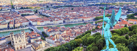 Horizontal view of Lyon from the top of Notre Dame de Fourviere