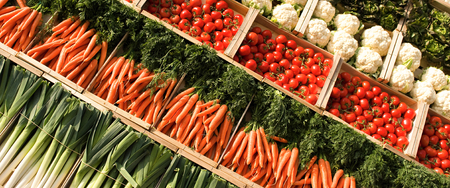 many fresh, different types of vegetables on market Stock Photo
