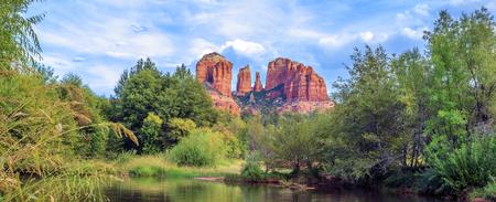 Horizontal view of Cathedral Rock in Sedona, Arizona.