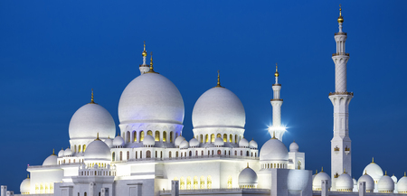 Sheikh: View of famous Abu Dhabi Sheikh Zayed Mosque by night, UAE.