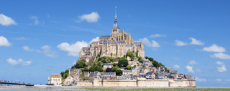 View of famous Mont-Saint-Michel and green grass, France, Europe. Stok Fotoğraf