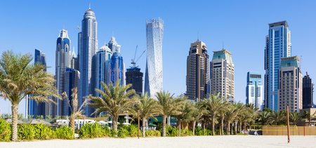 Horizontal view of skyscrapers and jumeirah beach in Dubai. UAE Stock Photo