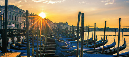Venice with gondolas at sunrise, Italy Stock Photo