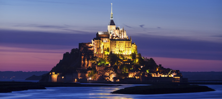 normandy: View of Mont-Saint-Michel by night, France. Stock Photo