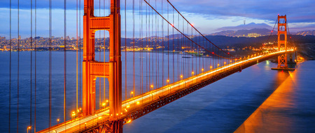 view of famous Golden Gate Bridge by night in San Francisco, California, USA Stock Photo