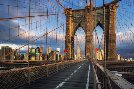 Brooklyn Bridge in the morning light, NYC.
