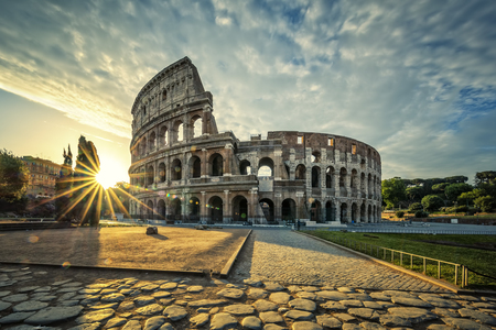 View of Colloseum at sunrise, Italy.