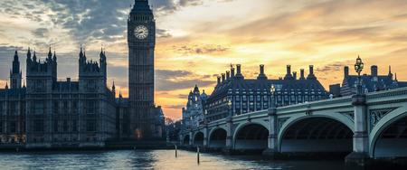 Big Ben and Westminster Bridge at sunset, London, UK Stock Photo
