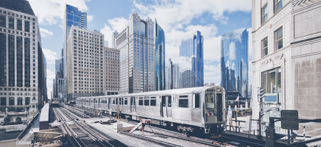 Elevated railway train in Chicago, USA.