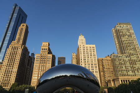 CHICAGO, ILLINOIS/USA-OCTOBER 9 2018: image of the Cloud Gate or The Bean in the morning October 13 2018 in Millennium Park, Chicago, Illinois