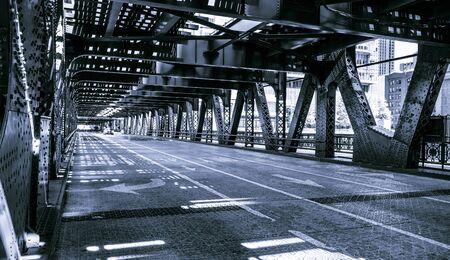 Black and white of Chicago downtown bridge, USA