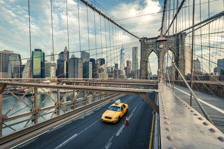Taxi on the Brooklyn bridge, New York, USA