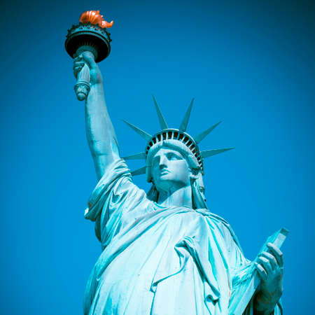 Famous Statue of Liberty, New York, special photographic processing.