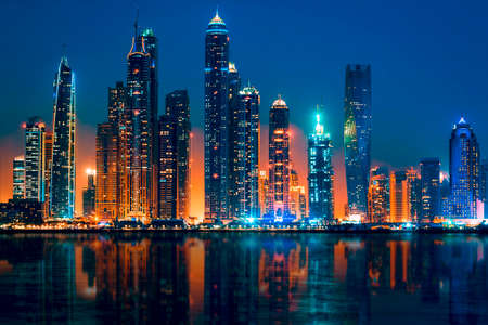 View of Dubai by night, UAE Sajtókép