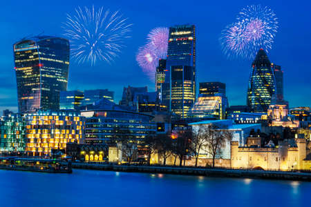 View of London skyline by night