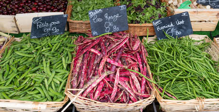 red beans and green beans in french market
