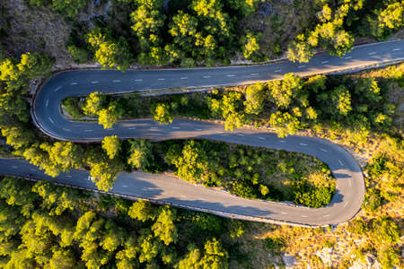 aerial view of road at Formentor, Mallorca, Spain 免版税图像