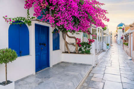View of Oia street in the mornong, Santorini, Greece