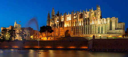 View of Palma de Mallorca cathedral by night, Spain, Europe 免版税图像