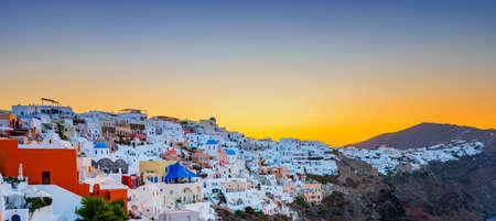 View of Oia at sunrise, Santorini, Greece