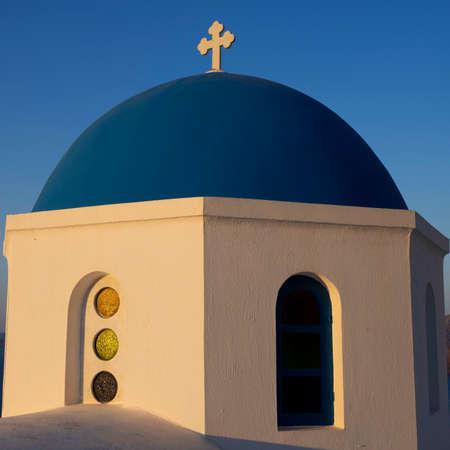 View of dome in Oia, Santorini, greece.