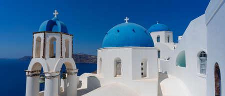 Famous view in Oia, Santorini, Greece.