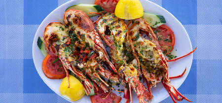 grilled lobster tail in restaurant