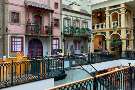 PORTO, PORTUGAL - AUGUST 20 2021: Interior of Via Catarina shopping mall. Via Catarina - oldest shopping area of Porto, 93 shops and number of restaurants that simulate traditional architecture.