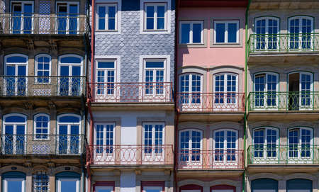 View of colorful traditional facade in Porto, Portugal