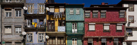 Panoramic view of colorful traditional facade in Porto, Portugal