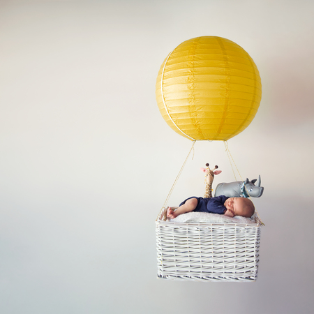 stuffed animals: A newborn baby in a small air balloon with his stuffed animals