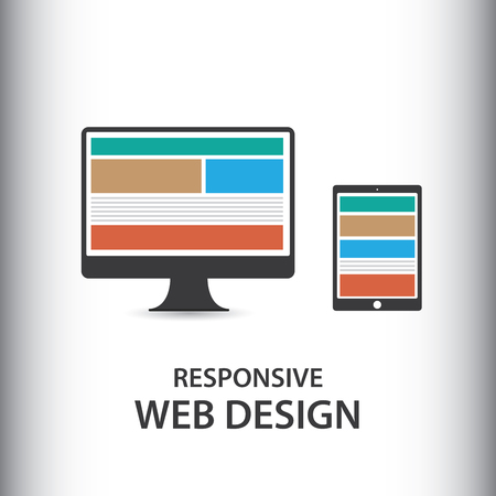 display size: Responsive design for web- computer screen, smartphone, tablet icons set