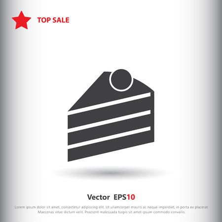 porcion de pastel: Pedazo de torta icono de la muestra, ilustración vectorial. Pedazo de torta de símbolo. icono plana. estilo de diseño plano para web y móvil.
