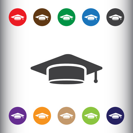 Student cap sign icon, vector illustration. Student cap symbol. Flat icon. Flat design style for web and mobile. Illustration