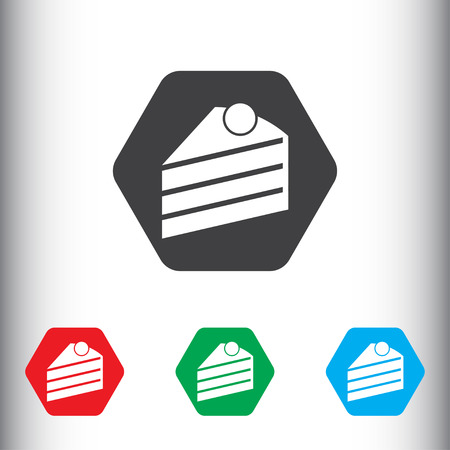 trozo de pastel: Piece of cake sign icon, vector illustration. Piece of cake symbol. Flat icon. Flat design style for web and mobile.