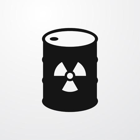 radioactive tank and warning sign: radiation on barrel icon illustration isolated vector sign symbol