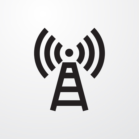 tv tower: transmitter icon illustration isolated vector sign symbol Illustration