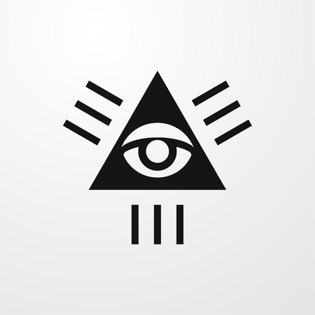 pyramid of the sun: seeing eye icon illustration isolated sign symbol