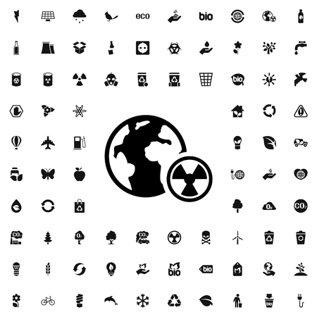 caution chemistry: planet radiation icon illustration isolated vector sign symbol