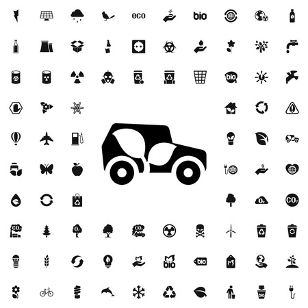 transportation icons: eco car icon illustration isolated vector sign symbol
