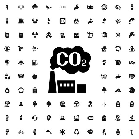 caution chemistry: CO2 factory icon illustration isolated vector sign symbol