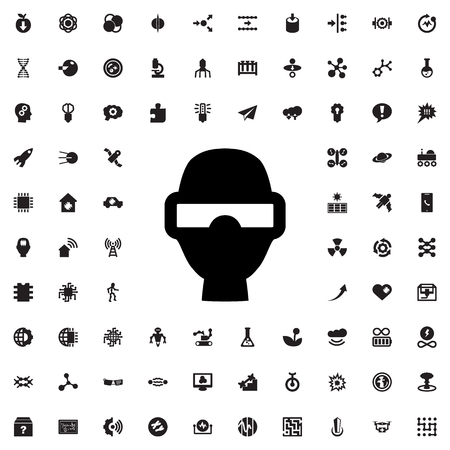 eyewear: man in smart glasses icon illustration isolated vector sign symbol