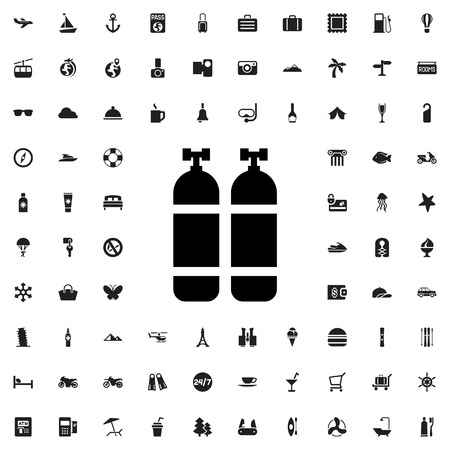 compressed air: oxygen cylinder icon illustration isolated vector sign symbol Illustration