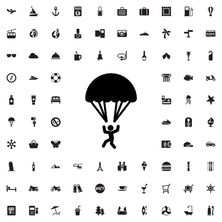 parachuter: parachute icon illustration isolated vector sign symbol Illustration