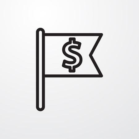 dollar icon: flag with dollar icon illustration vector sign symbol