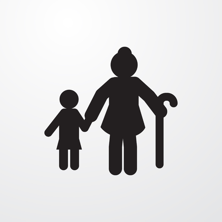 grand son: old woman and child icon illustration isolated vector sign symbol
