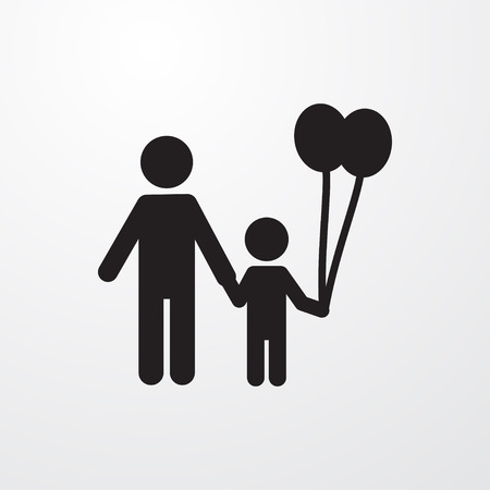 black baby boy: father and son icon illustration isolated vector sign symbol