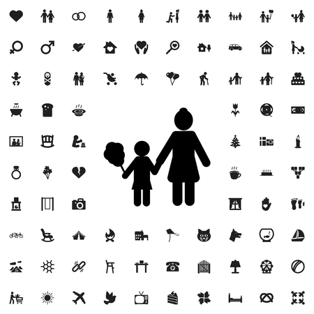 black baby boy: mother and son icon illustration isolated vector sign symbol Illustration