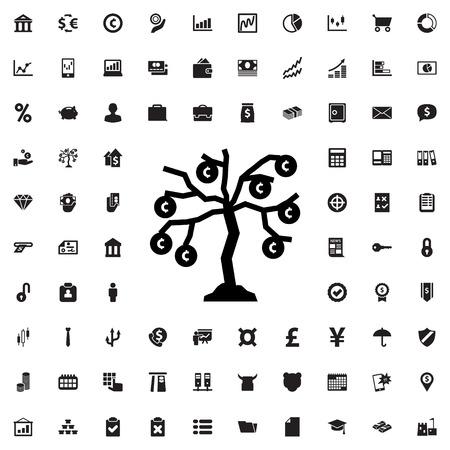 bank branch: money tree icon illustration isolated vector sign symbol Illustration