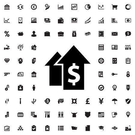 signo de pesos: el crecimiento dolar icónico símbolo vector aislado Vectores